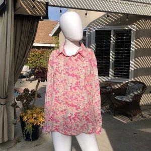 Vintage Pink Floral LongSleeve ButtonUp Top SzMed